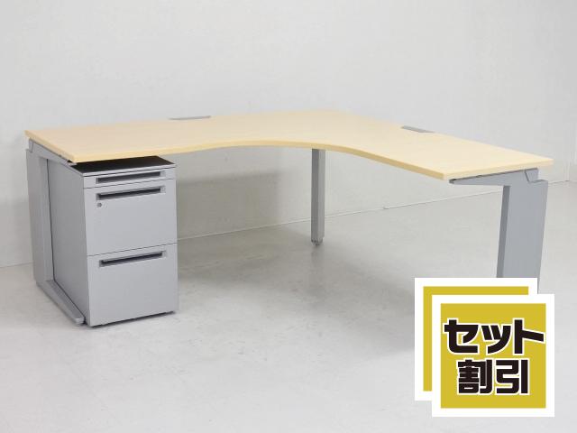 25305 デスク・L型・ラウンドデスク 商品説明へ:中古オフィス家具・楽市