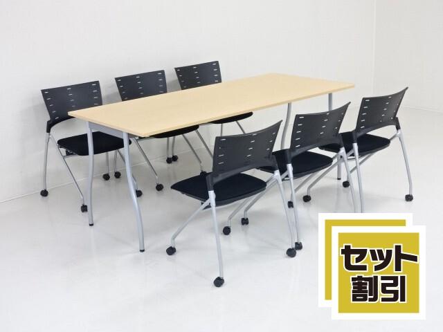 31391 木製家具・応接セット・応接・会議セット 商品説明へ:中古オフィス家具・楽市